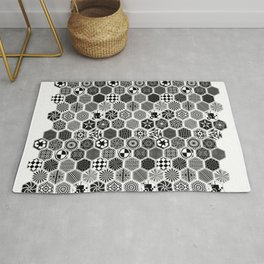Hexagon and Digital B&W shapes makes Pattern 11 Rug