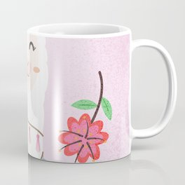 Cute Pink Llama - Boho Floral Alpaca with Pompoms Coffee Mug