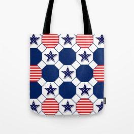 Nautical Patriotic Hexagons Tote Bag