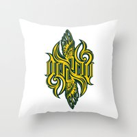 warcraft Throw Pillows featuring Angel 3K ambigram by LoneLeon