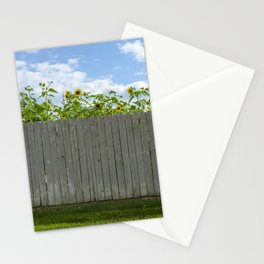 Sun flowers behind a fence  Stationery Cards