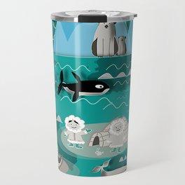 Arctic animals teal Travel Mug