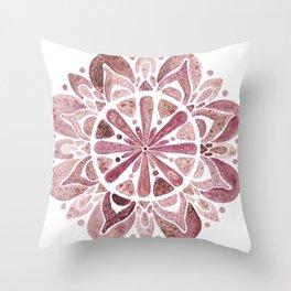 Watercolor Mandala III burgundy Throw Pillow