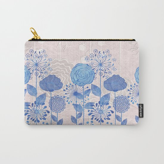 Light Blue Flowers Carry-All Pouch