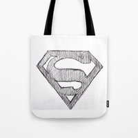 superman Tote Bags featuring Superman by Frances Roughton