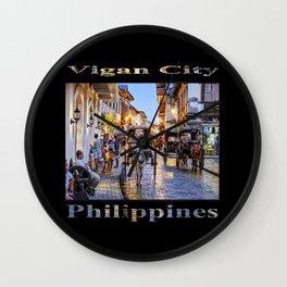 Rush Hour in Vigan City (on black) Wall Clock