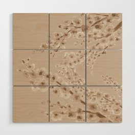 Cherry Blossom in Taupe Wood Wall Art