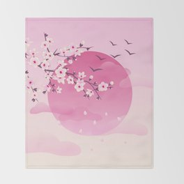 Japanese Cherry Blossom Pink Throw Blanket
