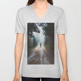 Girl on Nature Path Unisex V-Neck