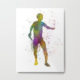 Tennis player in watercolor 07 Metal Print