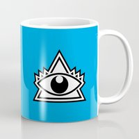 third eye Mugs featuring Third Eye by Diogo Rueda