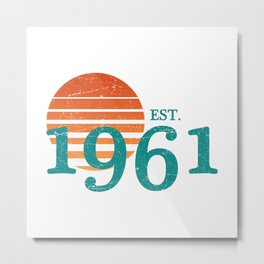 1961 60th Birthday Retro Sunset Metal Print