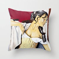 super hero Throw Pillows featuring Super Hero by JephWHO
