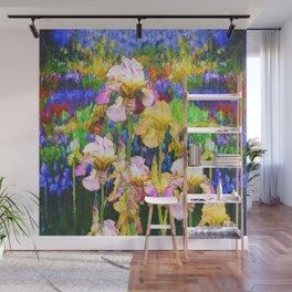 BLUE YELLOW IRIS GARDEN REFLECTION Wall Mural