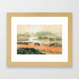 Egret On The Marsh Framed Art Print