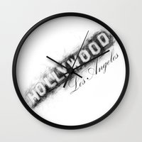 hollywood Wall Clocks featuring Hollywood by KitschyPopShop