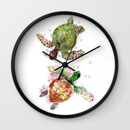 Turtles, Olive Green Cherry Colored Sea Turtles, turtle Wall Clock