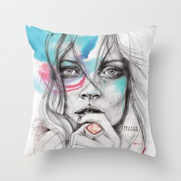 Kate Moss by Leo Tezcucano Throw Pillow