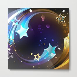 Background with Bright Comets Metal Print