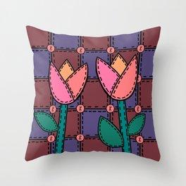 Retro Doodle Tulip Quilt - Burgundy Purple Pink Throw Pillow