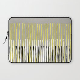 Yellow Rising - abstract stripes in yellow, grey, black & white Laptop Sleeve