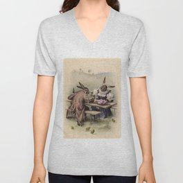 Easter bunnies - Vintage Illustration Unisex V-Neck