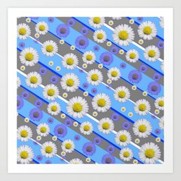 DECORATIVE DIAGONAL PATTERN BLUE MODERN ART WHITE SHASTA DAISIES Art Print