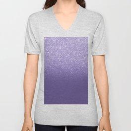 Modern ultra violet faux glitter ombre purple color block Unisex V-Neck
