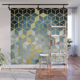 Shades Of Turquoise Green Cubes Pattern Wall Mural