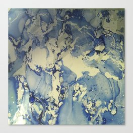 Shadows in Blue and Cream, Marble Canvas Print