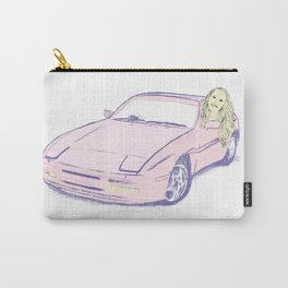 Girl and Pink Sports Car Carry-All Pouch