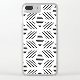Geometric Line Lines Diamond Shape Tribal Ethnic Pattern Simple Simplistic Minimal Black and White Clear iPhone Case