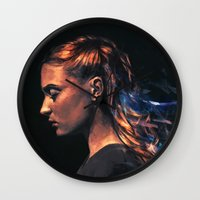 sansa stark Wall Clocks featuring Amethyst by Alice X. Zhang