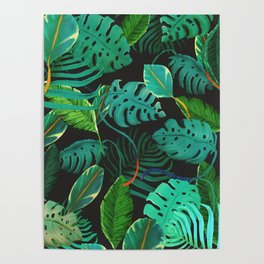 nigth tropical leaves Poster
