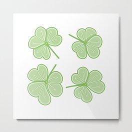 Three Leaves Clover Illustration Metal Print