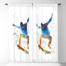 Man skateboard 01 in watercolor Blackout Curtain