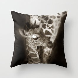 Baby Giraffe and Mother Throw Pillow