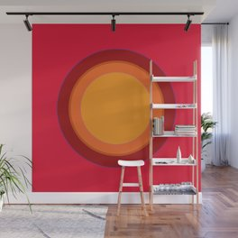 70s Retro Chic sunspot in Kapow Red! Wall Mural