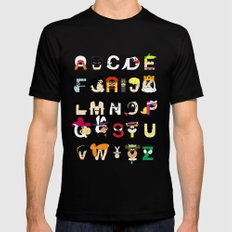 Child of the 60s Alphabet Mens Fitted Tee LARGE Black