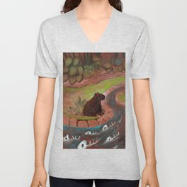 the dark capybara Unisex V-Neck