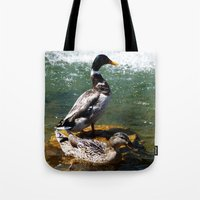 ducks Tote Bags featuring Ducks by Siriusreno
