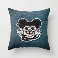 rat Throw Pillows featuring Rat by Shunshoo