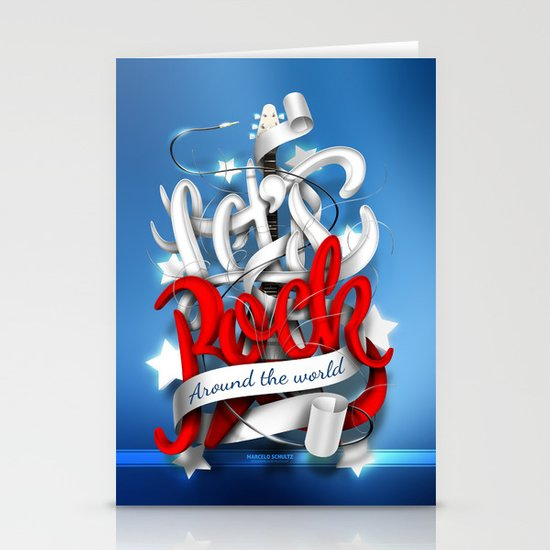 Let's Rock Around The World Stationery Cards