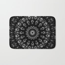 Kaleidoscope crystals mandala in black and white Bath Mat