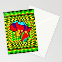 Colorful African Check Pattern Abstract Print Stationery Cards