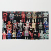 army Area & Throw Rugs featuring Robot Army by derek banks