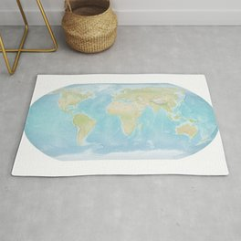 Minimalist Physical Map of the World Rug