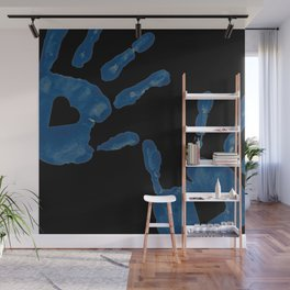 Blue Heart Hand Prints Wall Mural