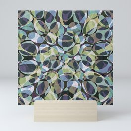 Blue Green Layered Ovals Mini Art Print