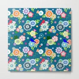 Whimsical Spring Flowers in Dark Blue Metal Print